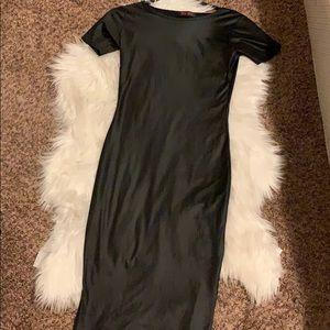 Black Vinyl Midi Dress